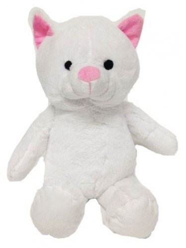"""15"""" White Stuffed Animal Cat with Embroidery Eyes"""