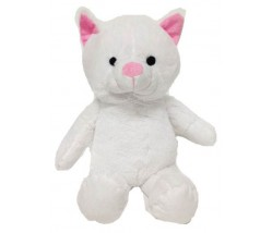 "15"" White Stuffed Animal Cat with Embroidery Eyes"