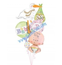 Bouncing Baby Girl Balloon Bouquet  (4 Balloons)