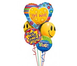 Get Well Singing Helium Balloon Bouquet Delivery (5 Balloons)