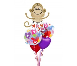 Monkey In Love Balloon Bouquet (6 Balloons)