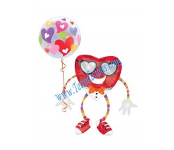 My Heart Beat Air Walker  Balloon Bouquet (2 Balloons)