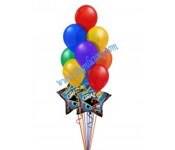 Rainbow Graduate Balloon Bouquet  (12 Balloons)