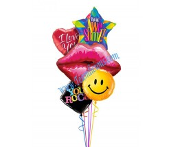 Smiley Kiss Balloon Bouquet (5 Balloons)