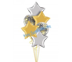 Star Light Congrats Balloon Bouquet  (6 Balloons)