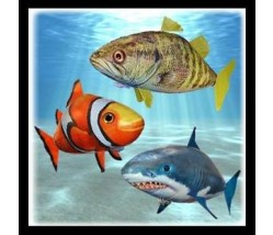 Air swimmers Triple Pack  - Flying Bass, Shark and Clownfish !