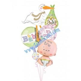 Bouncing Baby Girl Balloon Bouquet  (4 Balloons)