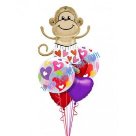 Monkey In Love Balloon Bouquet (6 Balloons)