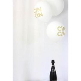 WHITE AND GOLD CIN CIN BALLOONS